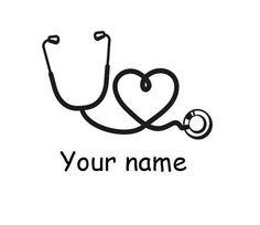 Personalized Stethoscope Heart Nurse Monogram Vinyl Decal