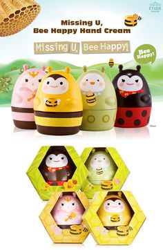 Etude House Missing U Bee Happy Hand Cream-- cute bottles!