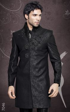 Indian wedding groom black beaded sherwani. I think that a groom wearing this would look very handsome and sexy in my opinion.    If you ask me, the guy kinda looks like Kishan & that's how I kinda picture him & it be weird if I got married to a guy that looks awfully like Kishan because... I'm on Team Ren lol