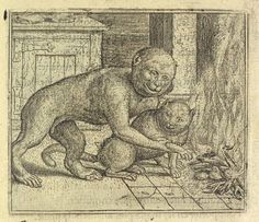 Le Singe et le Chat - The Monkey and the Cat | engraving,1578 | Marcus Gheeraerts the Elder
