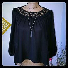 BEAUTIFUL BLACK BOHO TOP- NWT This top is very boho chic. Black crochet detail on top, hi- low style. The top is loose fitting with elastic sleeves and is  perfect for shorts, jeans, or even business slacks. sold as is. Tops Blouses