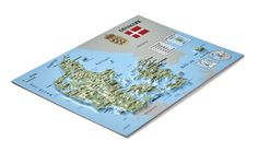 raised relief map of Denmark, created as a postcard, which can be sent via Post Services Denmark Map, 3d Poster, Scandinavian, 3 D, Tourism, Create, Souvenir, Turismo, Travel