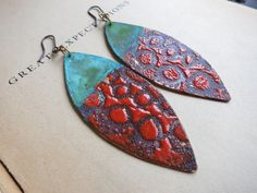 Red Enamel and Patina Earrings by cefische on Etsy https://www.etsy.com/listing/124286073/red-enamel-and-patina-earrings