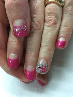 Bright pink high French gel nails with glitter accents. All done with non-toxic and odorless gel.