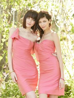 Acorn dupioni modified trumpet bridesmaid gown, draped one shoulder neckline with ruffle detail, natural waist.