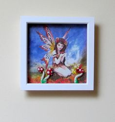 3D Effect  Fairy Art White frame  Oil Painting by PetitJardins