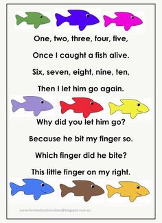 Printable Number Rhyme and fish template - learning about numbers, matching, counting, addition, colours and more! This would be great for Kindergarten. Preschool Music, Preschool Classroom, Number Songs Preschool, Math Songs, Songs For Toddlers, Kids Songs, Ocean Activities, Preschool Activities, Movement Activities