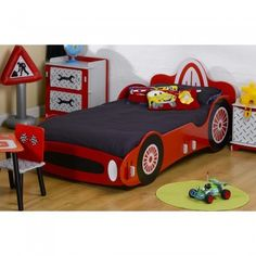 The red racing car bed is a great centrepiece to a young racer's room.