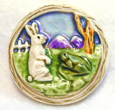 Handcrafted Art Stone Button Bunny Rabbit & Frog  FREE US SHIPPING