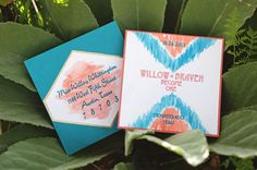 hand painted ikat wedding invitations