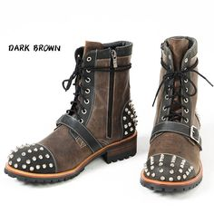 Studded & belted contrast lace-up zipper leather boots