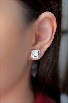 Princess diamond earrings 1.01+1.06 ct I color Princess Cut Diamond Earrings, Princess Cut Diamonds, Diamond Cuts, Color, Jewelry, Jewlery, Jewerly, Colour, Schmuck