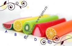 Ploymer Clay Cane, Mixed, fruit style, different sizes for choice, Sold by PC