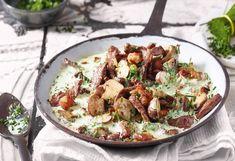 Rinder-Geschnetzeltes mit Pilz-Obers-Sauce und Semmelknödel