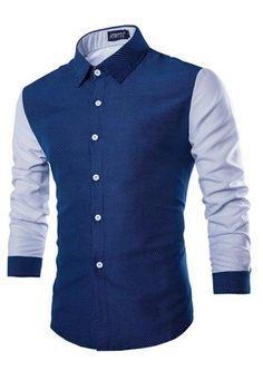 Camisa Moderna Casual en Dos Colores Estilo de Puntos - en Azul y Blanco — CamisasMasculinas.com - Lo Mejor de la Moda Masculina