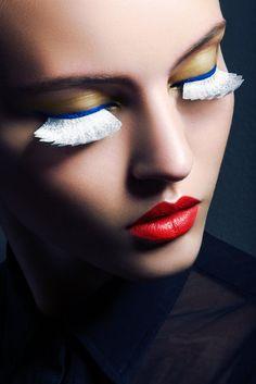 Lash effect: Paloma Passos wears multi-hues lashes and colorful eyeshadow as shot by Jeff Tse