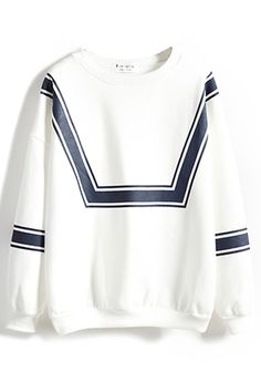 Stripe Print Long Sleeve Round Neck Sweatshirt