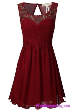Burgundy A-line Sweetheart Chiffon Short Evening Dress with Beaded Illusion Neckline MT20181312