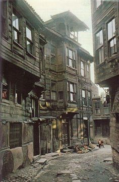 An old Istanbul street and wooden houses from the . - Sadıkin - - An old Istanbul street and wooden houses from the . Abandoned Houses, Abandoned Places, Old Houses, Wooden Houses, Turkish Architecture, Landscape Architecture, 19th Century London, Fantasy Places, Old Street