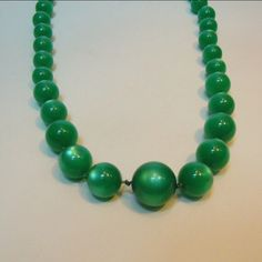 """Vintage 1940's Green Moonglow Lucite Necklace with Hidden Clasp 19"""" by VieuxVintageBoutique on Etsy https://www.etsy.com/listing/263126890/vintage-1940s-green-moonglow-lucite"""