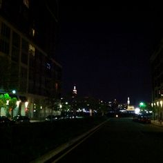 NYC Skyline as viewed from the middle of a Hoboken street.