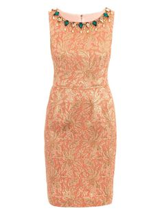 metallice brocade shift dress