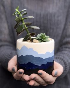 Mountain Range Hand Painted Succulent Planter - - Art to educate and to inspire for all manner of spaces. Flower Pot Art, Flower Pot Design, Painted Plant Pots, Painted Flower Pots, Painted Pebbles, Decorated Flower Pots, Ceramic Plant Pots, Ceramic Flower Pots, Ceramic Painting