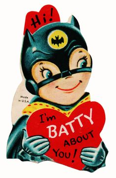 From Mitch O'Connell's The Top 100 Most Strange, Odd, Perplexing and Unintentionally Funny Vintage Valentine Cards EVER! See more pop culture related valentines in the Geeky Valentine's Day Card Gallery. Valentine Images, My Funny Valentine, Vintage Valentine Cards, Vintage Greeting Cards, Vintage Holiday, Valentine Day Cards, Happy Valentines Day, Holiday Fun, Batman Valentine