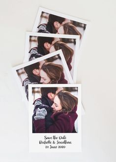 Photo Save the Date in a polaroid style with a modern playful font for a trendy 2020 wedding.