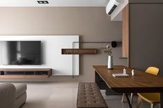 Japanese living in Taiwan is a project designed by HOZO interior design, covers an area of 100 square meters and is located in Taiwan. Photography by HOZO interior design Living Room Tv, Living Room Interior, Home And Living, Minimalist Interior, Modern Interior, Interior Architecture, Japanese Architecture, Espace Design, Japanese Interior