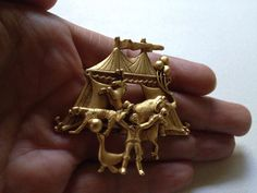 Vintage Signed AJC CIRCUS Big TENT CARNIVAL Gold Tone BROOCH Pin Costume Jewelry…