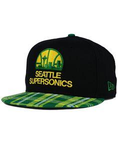 8d7e63138c2 New Era Seattle SuperSonics Plaid 9FIFTY Snapback Cap Fitted Caps