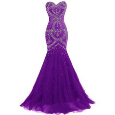 Dresstells Long Mermaid Prom Dress Corset Back Tulle Evening Gowns... ($85) ❤ liked on Polyvore featuring dresses, gowns, purple gown, long prom gowns, purple corset, beaded prom dresses and long prom dresses