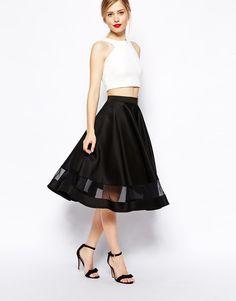 ASOS Midi Skirt In Scuba With Sheer Panel