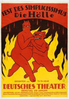 Poster for the Simplicissimus Festival Hell (Hölle) - Thomas Theodor Heine - WikiPaintings.org