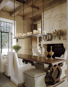 French Country Dining Rooms Design With Long Wooden Table And Chairs With Covers And Benches And Traditional Candle Lighting , Best Dining Rooms Design In Dining Room Category Dining Room Design, Dining Area, Dining Table, Trestle Table, Table Seating, Dining Chairs, Kitchen Dinning, Dining Decor, Patio Table