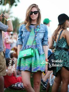 Coachella Look - Chiara Ferragni Moda Outono 2015 - Chanel Le Boy Bag + Jaqueta Jeans