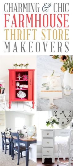 Charming and Chic Farmhouse Thrift Store Makeovers that will totally inspire you to create!  Learn some new tips, tricks and techniques when you visit these incredible Farmhouse Thrift Store Makeovers!  Tons of new ideas and inspiration.  #FarmhouseThriftStore #ThriftStoreMakeovers, #ThriftStore #FurnitureMakeovers #FarmhouseHomeDecorDIY #ThriftStoreCreations #FarmhouseDIYS
