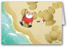Sand Angels Christmas Card.  Santa making sand angels!!!  What a great way to relax and enjoy the beautiful sand and beach!  Funny Santa Beach Christmas Card! #stonehousecards