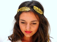 Golden leaf crown Gold olive leaves Spring by BlackSwanFeather