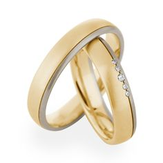 Yellow and Grey gold wedding bands by Christian Bauer