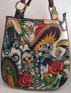 Sugar Skull Handmade Medium Purse Over the Shoulder Purse