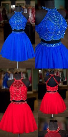 Halter Two Pieces Beaded Royal Blue A-line Tulle Mini Short Homecoming Dresses Pretty Prom Dresses, Prom Dresses Blue, Dance Dresses, Homecoming Dresses, Cute Dresses, Beautiful Dresses, Evening Dresses, Formal Dresses, Dresses Short