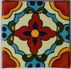 Mexican Tile Folk Art Handmade Talavera Backsplash Handpainted Mosaic # C353