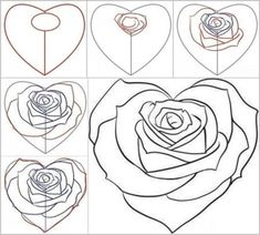 Pictures to draw of roses easy drawings of roses easy to draw rose sketch inspirational how . pictures to draw of roses Drawing Skills, Drawing Techniques, Drawing Sketches, Drawing Tips, Learn Drawing, Sketching, Drawing Ideas, Rose Step By Step, Step By Step Drawing