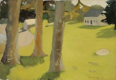 Fairfield Porter, Farmhouse, Great Spruce Head Island, 1954, oil on canvas, 25 3/8 x 36 3/4 inches, collection of the Parrish Art Museum