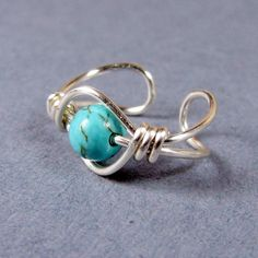 Ear Cuff Sterling Silver Turquoise Dyed Howlite by WireYourWorld