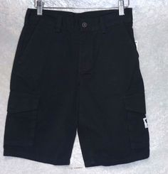 51adc1c9 DC Shoes Boys Cargo Shorts Cotton Black Solid Kids size 26 NEW 16.99 free  us shipping