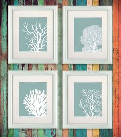 Set 4 Coral Prints Mist Blue/Green Nautical print by NauticalNell