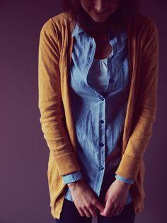 tank + button up + cardigan + leggings // Rose a la Mode